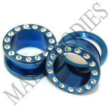 """0893 Blue Screw-on CZ Tunnels 5/8"""" Inch Ear Plugs 16mm"""
