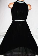 GIRLS BLACK DIAMONTE TRIM GRECIAN FULL LENGTH CHIFFON MAXI DRESS with TIE BELT