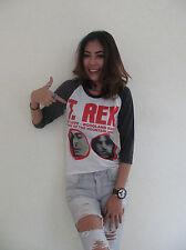 T.Rex English Glam Rock Band Womens Raglan T-Shirt White Graphic Tee Cotton