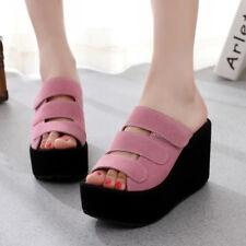 vogue womens ladies open toe wedge heel platform summer sandals shoes size 4.5-8