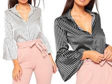 Satin Bell Sleeve Striped Collar Shirt Womens Smart Work Blouse Party Top Cheap
