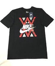 New NIKE MEN'S SHORT-SLEEVE TOP graphic/tshirt men//soft cotton/pocket/black/gym