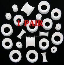 "PAIR 6G,2g,0g,00g,1/2"",9/16"" White Silicone Flexible Eyelet Plugs (Choose Size)"
