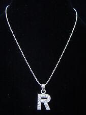 """R"" LETTER INITIAL ALPHABET PENDANT CHARM NECKLACE SILVER TONE CRYSTAL 5 COLORS"