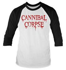 """CANNIBAL Corpse """"Gocciolamento Logo' 3/4 Lunghezza Manica Raglan Maglietta da Baseball-Nuovo"""