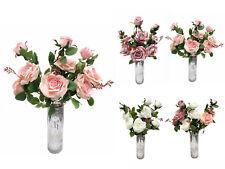 "Large 72CM 28"" Artificial Flowers 9 Head Rose 3 Spray Bouquet Decor UK STOCK"