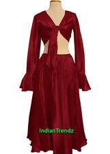 Maroon Satin Belly Dance Skirt + Top Set Tie Ruffle Dress Tribal Full Circle