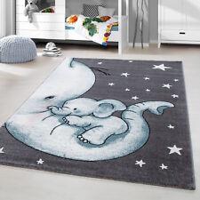 Tappeto Bambini Pelo Corto Elefante Cameretta Dei Camera Grigio Blu Screziato