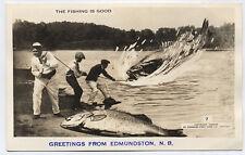 Antique Real Photo Postcard Fishing Comical Exaggeration Edmundston NB Canada