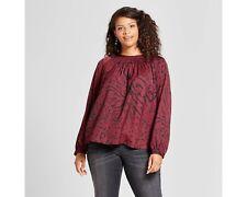 795f8e24555 Ava   Viv Plus Size Smock Neck Blouse Burgundy Red Animal Cheetah Leopard  Print