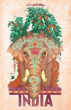Vintage visita cautivante India cartel turístico A3 impresión