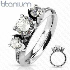 Titanium Triple Round Cut CZ Engagement Wedding Band Ring