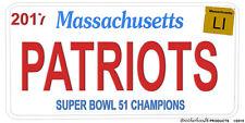 New England Patriots Super Bowl 51 LI Team Names Personalized License Plate
