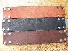 Customize size Men cuff plain Bracelet Bison leather black or brown  2 inch wide