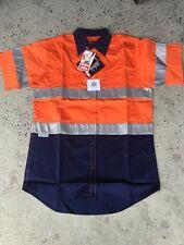 1x Hi Vis LIGHTweighCotton Shirt tape Short Sleeve Safety Work Wear Orange/Navy