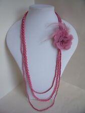 Nuevo largo 3 Collar Estilo 1920s en blanco roto o rosa pálido o rosa oscuro