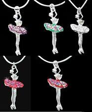 Silver Rhinestone Ballerina Ballet Nutcracker Pendant .925 Snake Necklace Chain