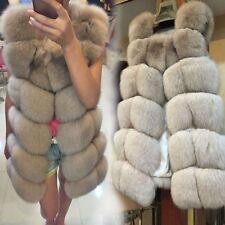 Donna Gilet Pelliccia Vera Volpe Cappotto Smanicato in Pelliccia Vera Fur Vest 1