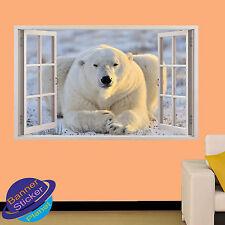 Grosse peluche ours blanc 3D fenêtre autocollant mural chambre décoration autocollant murale