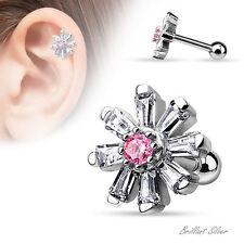 Ohrpiercing Helix Cartilage Tragus Silber Blume Zirkonia Kristalle Weiß Rosa