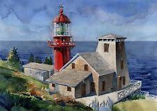 Pointe-à-la-Renommée Lighthouse, Gaspé, Quebec, Canada. Watercolor Art Prints