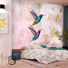 Vlies Fototapete Vogel Kolibri  Blumen Abstrakt 3 Farben Tapete g-B-0068-a-b