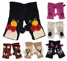 Woolen Hand Knit Cute Animal Fleece Lined Winter Warm Handwarmer Gloves