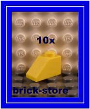 Lego 10 x giallo 1x2 Tegole 45° Merce nuova