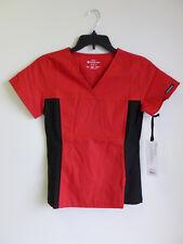 Cherokee Scrub Top Flexibles V-Neck Missy Fit Womans # 2874 Red/w Black XS-2XL