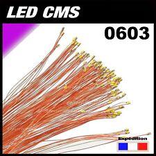 C132# LED CMS pré-câblé 0603 violet - rose fil émaillé 5 à 20pcs - prewired LED