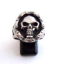 Men's Stainless Steel Motorcycle Biker Chain Skull Ring Gothic Skeleton Rider