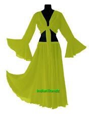 Yellow Green - Belly Dance Chiffon Skirt + Top Set Ruffle Tie Gypsy Dress Jupe