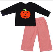 Boys Pant Set Halloween Orange & Black Pumpkin Face  Infant Toddler NWT Babeeni