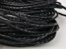 Lederschnur (ab 3,6€/m) Geflochten 5 mm. Schwarz. Lederband. Länge: wählbar