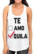 Junior's Te Amo Te Qila White Racerback Tank Top Cinco de Mayo Funny Drink B594