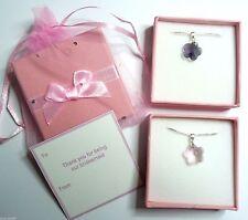 Demoiselle D'Honneur Fleur Fille Anniversaire crystal silver colliers chaîne BOÎTE CADEAU SAC TAG &