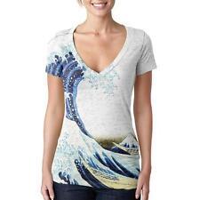 Great Wave Tsunami Japanese Painting Vintage Juniors Burnout V-Neck T-Shirt