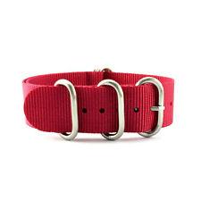 5-Ring Red Nylon Military ZULU Watch Strap (Steel 20mm, 22mm)