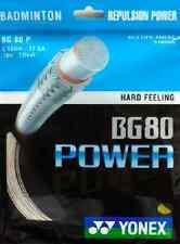 Genuine Yonex bg80 Power Racchetta Da Badminton Stringa BG 80 - 10m-Bianco-GRATIS P&P
