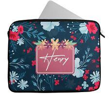 Personalised Any Name Floral Design Laptop Case Sleeve Tablet Bag Chromebook 24