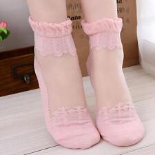 BS Pop  Women Lace Ruffle Ankle Sock Soft Comfy Sheer Silk Beauty Elastic Socks