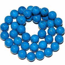 "GR1091 Bright Blue 10mm Round  Riverstone Coral Fossil Gemstone Beads 16"""