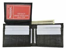Mens Alligator Pattern Flap Up Id Card Holder Bifold Wallet Leather