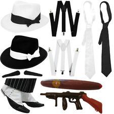 MENS GANGSTER HAT TIE BRACES 1920'S PICK FELT TRILBY MAFIA GANG FANCY DRESS LOT