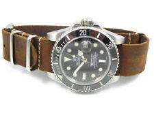 Hecho a mano de cuero reloj correa de la OTAN ® para relojes de Buceo Divers SEIKO Marrón 20 mm 22 mm