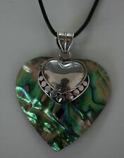 Paua Muschel Anhänger Herz  Sterling Silber  verschiedene Exemplare