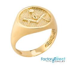 Masonic Men's Solid Yellow Gold Ring