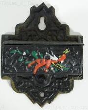 Vintage Cast Iron Match Holder - Handpainted & Ornate (DD)