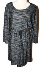 NWT Ann Taylor Loft Black Spacedye Txtrd Drawstring Waist 3/4 Slv Dress $69 XS-M