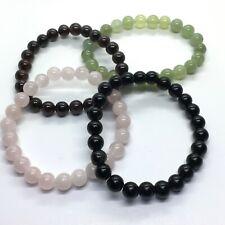 Crystal 8 mm Bead Bracelets Obsidian, New Jade, Rose Quartz & Garnet